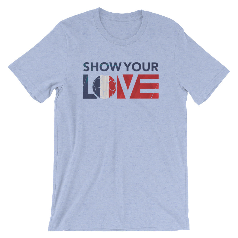 Heather Blue Show Your Love France Unisex Tee
