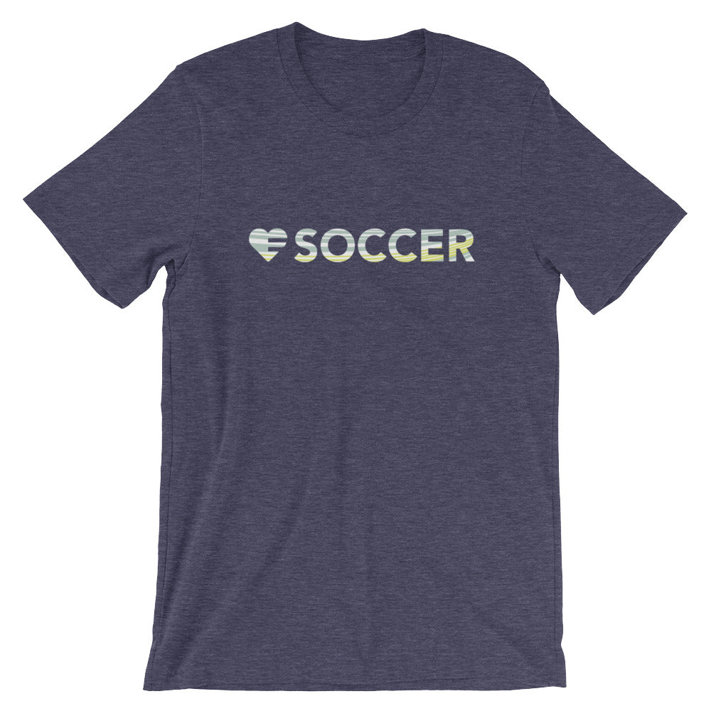 Midnight Navy Heart=Soccer Unisex Tee