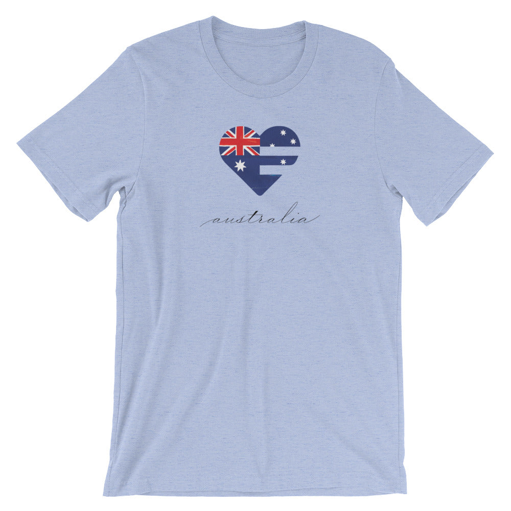Heather Blue Australia Heart Unisex Tee