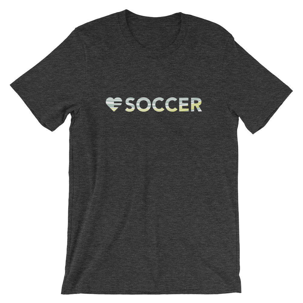 Dark Grey Heart=Soccer Unisex Tee