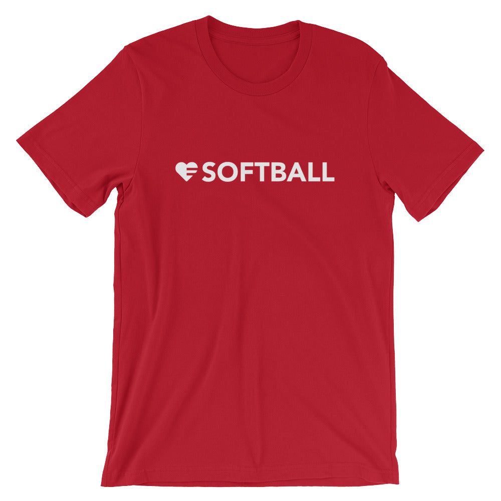 Red Heart=Softball Unisex Tee