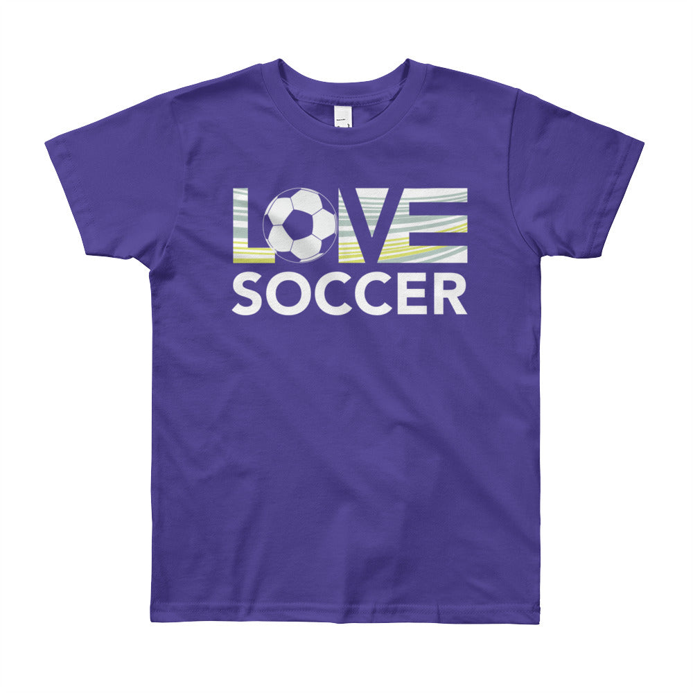 Purple LOV=Soccer Youth Tee
