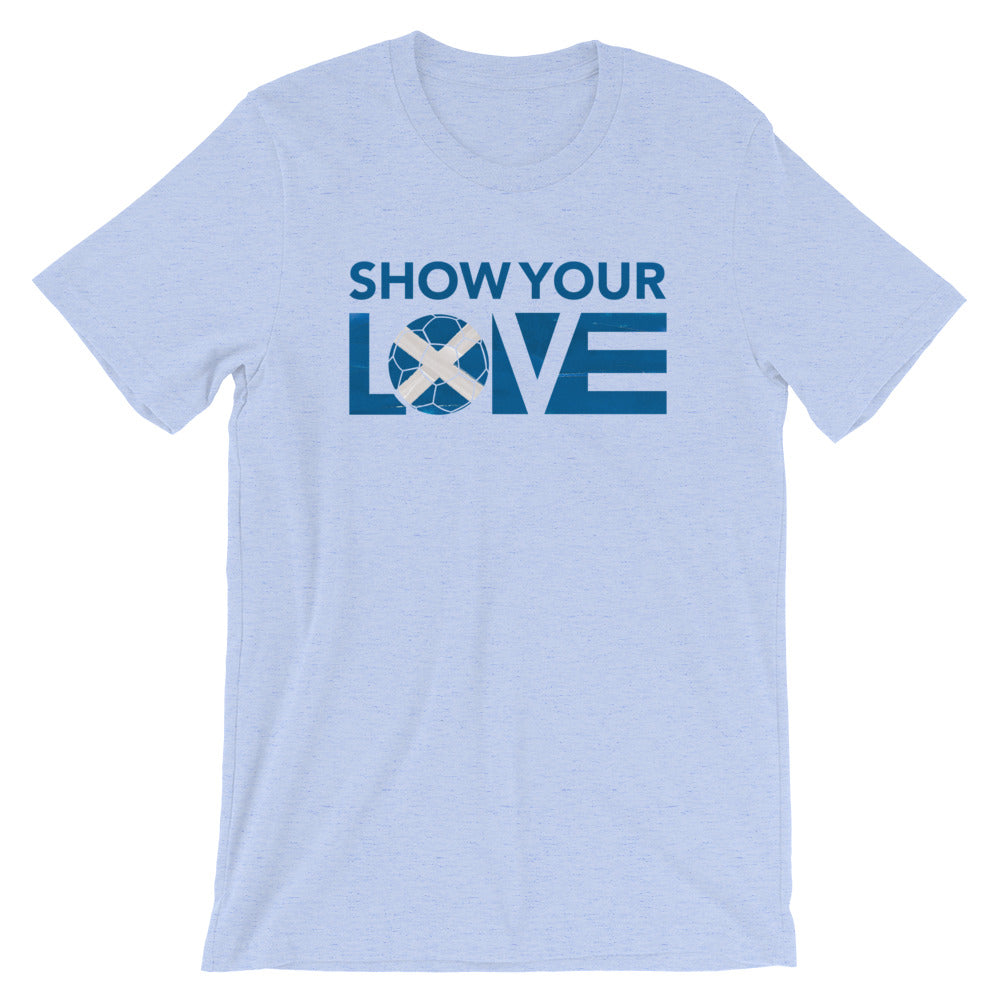 Heather Blue Show Your Love Scotland Unisex Tee