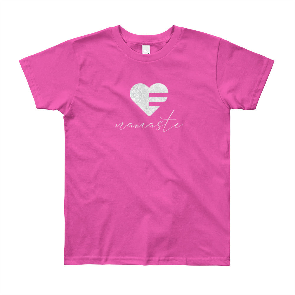 Fuchsia Heart Namaste Youth Tee
