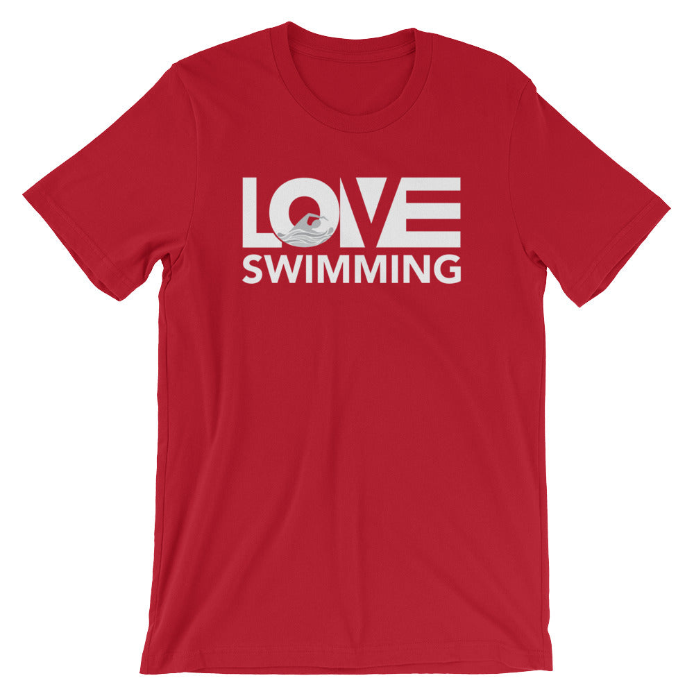 Red LOV=Swimming Unisex Tee