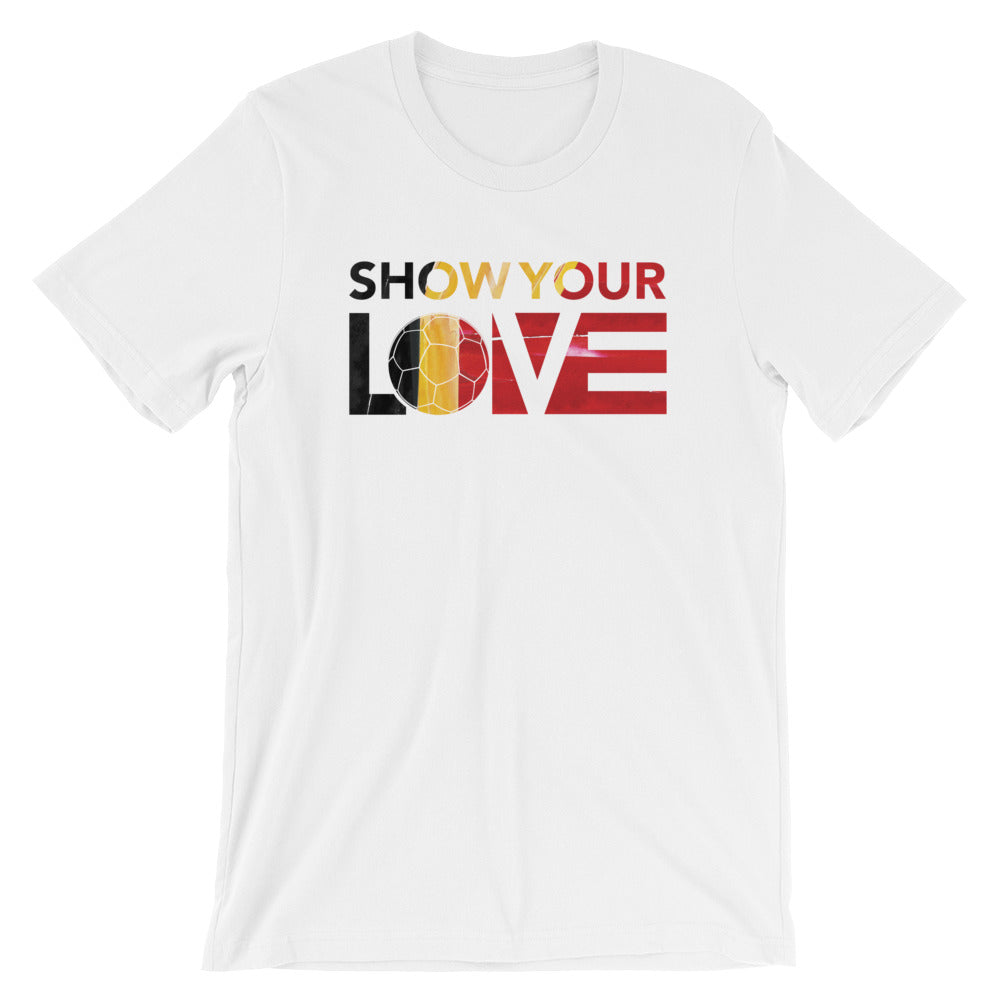 White Show Your Love Belgium Soccer Unisex Tee