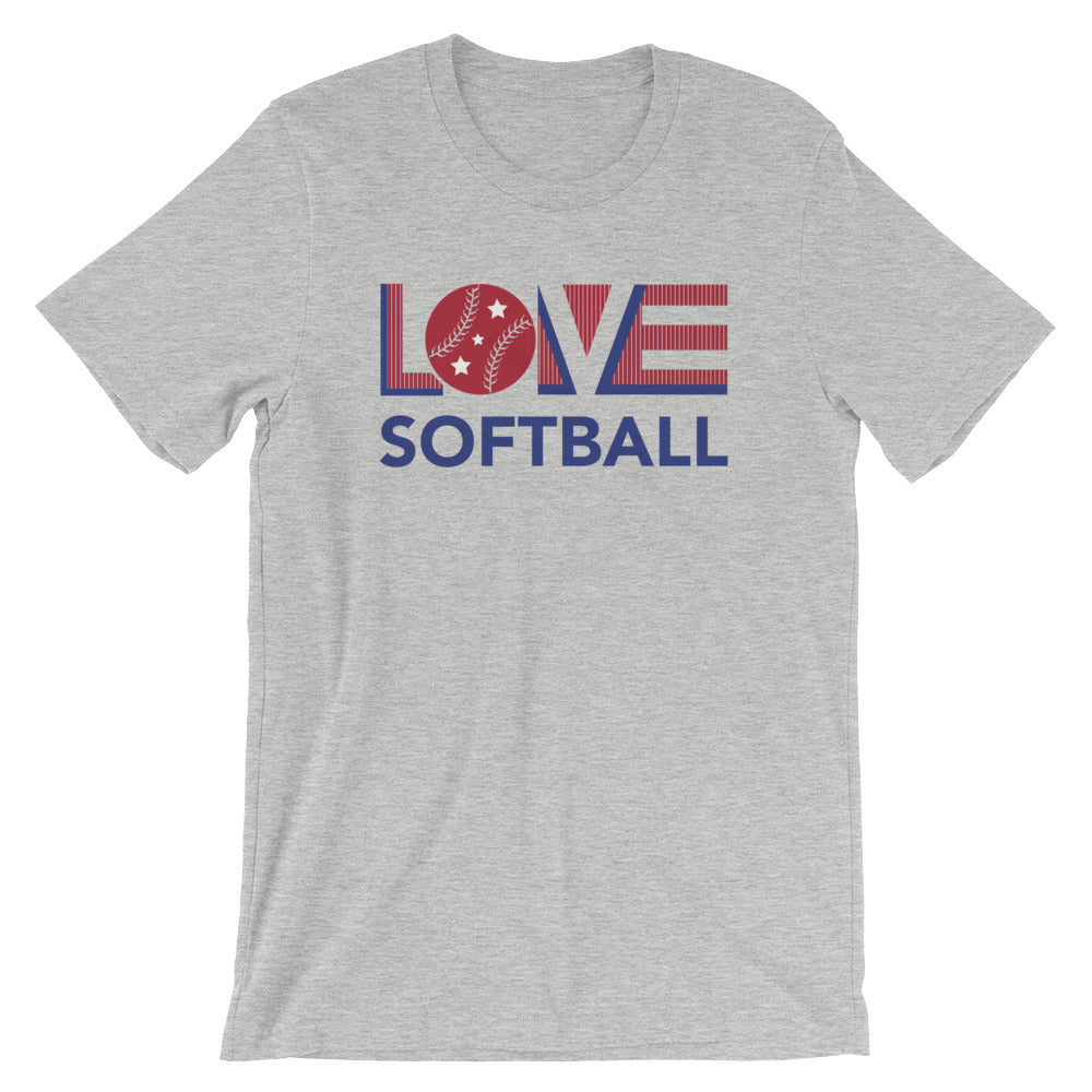 Athletic heather LOV=Softball Unisex Tee