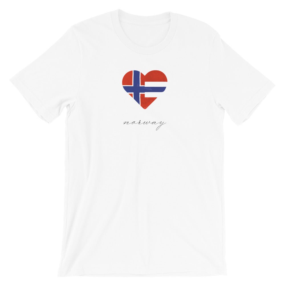 White Norway Heart Unisex Tee