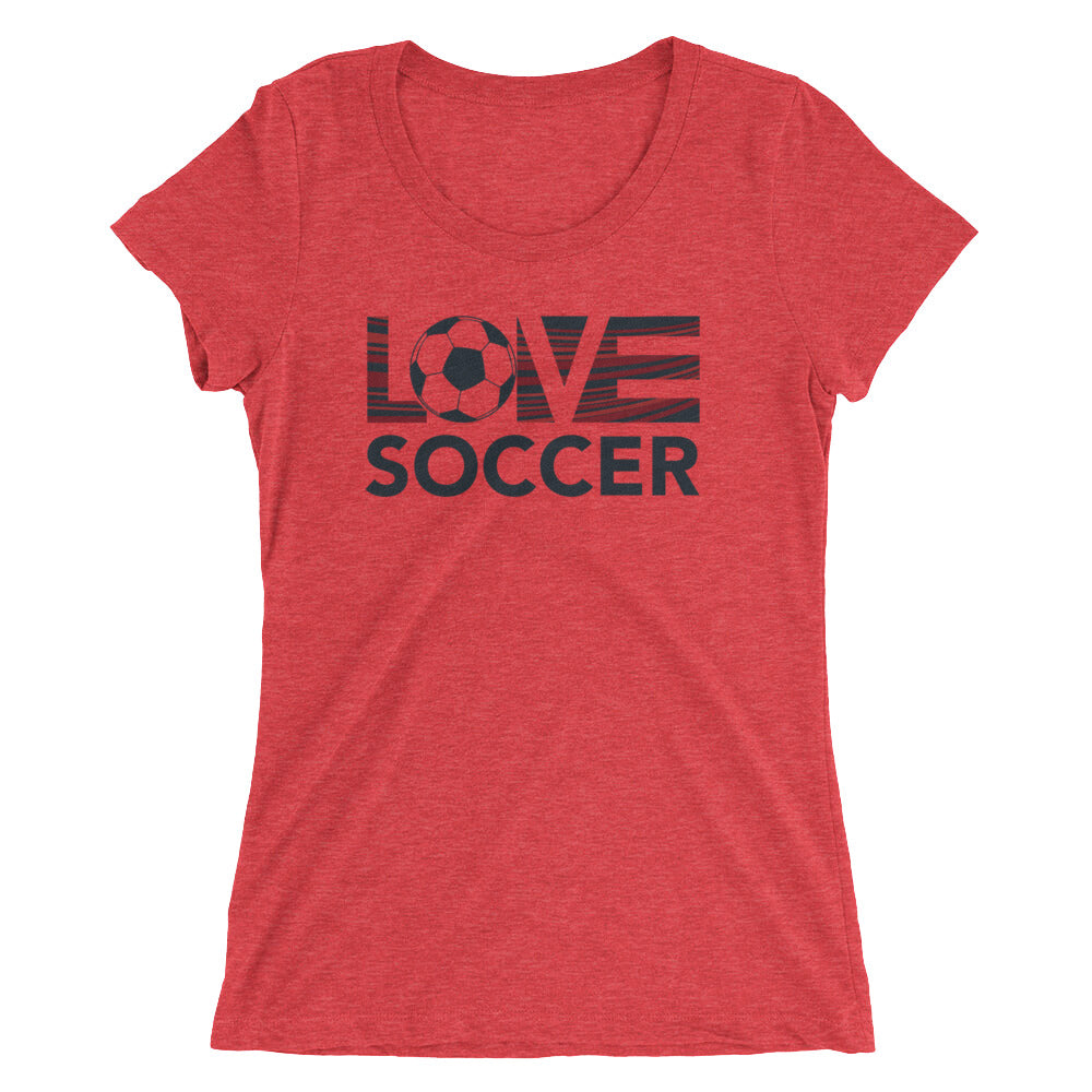 Red LOV=Soccer Ultra Slim Fit Triblend Tee