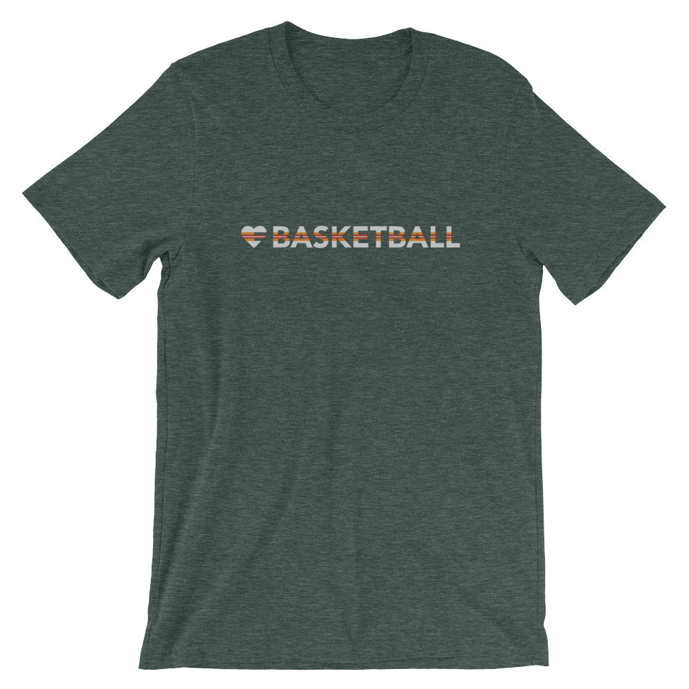 Heather Forest Heart=Basketball Unisex Tee
