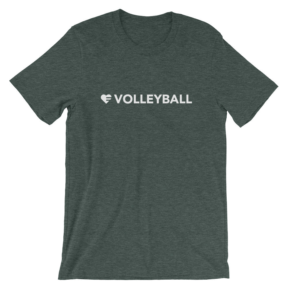 Heather forest Heart=Volleyball Unisex Tee