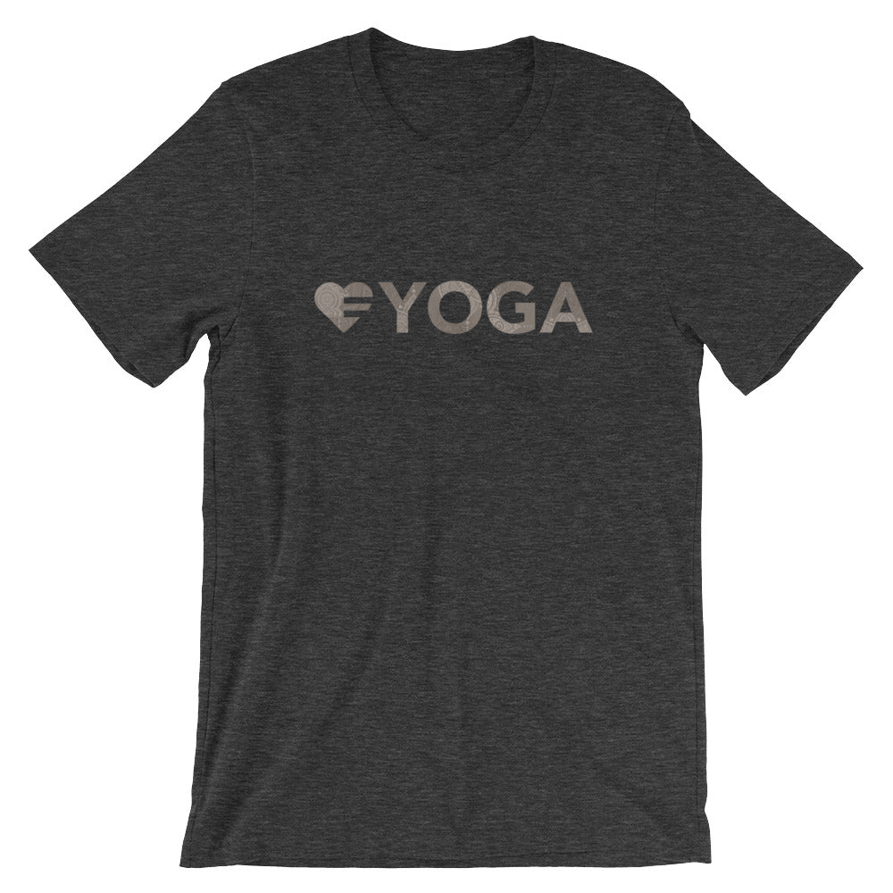 Dark grey Heart=Yoga Unisex Tee