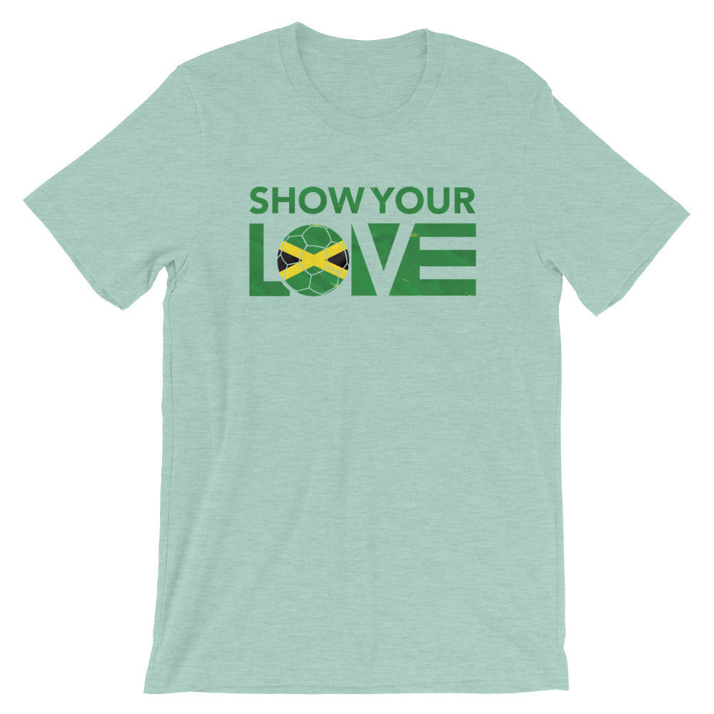 Heather Prism Dusty Blue Show Your Love Jamaica Unisex Tee