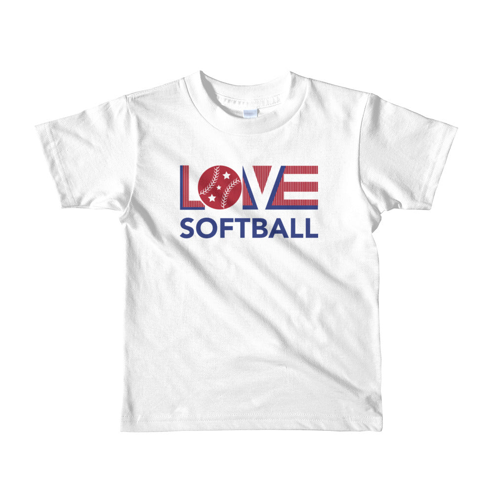 White LOV=Softball Kid Tee