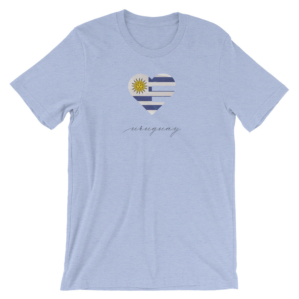Heather Blue Uruguay Heart Unisex Tee
