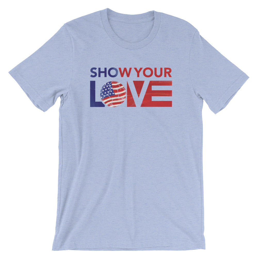 Heather Blue Show Your Love USA Soccer Unisex Tee