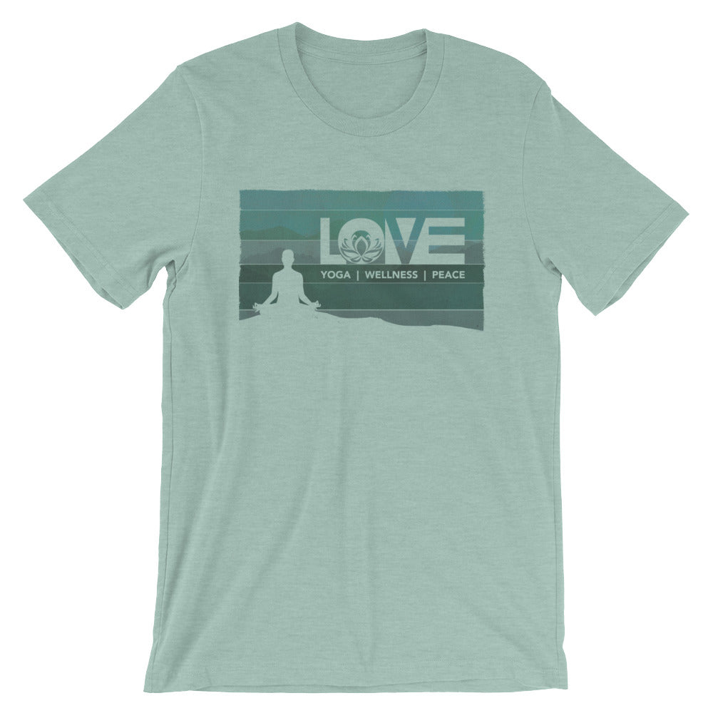Heather Prism Dusty Blue LOV=Yoga Vintage Unisex Tee