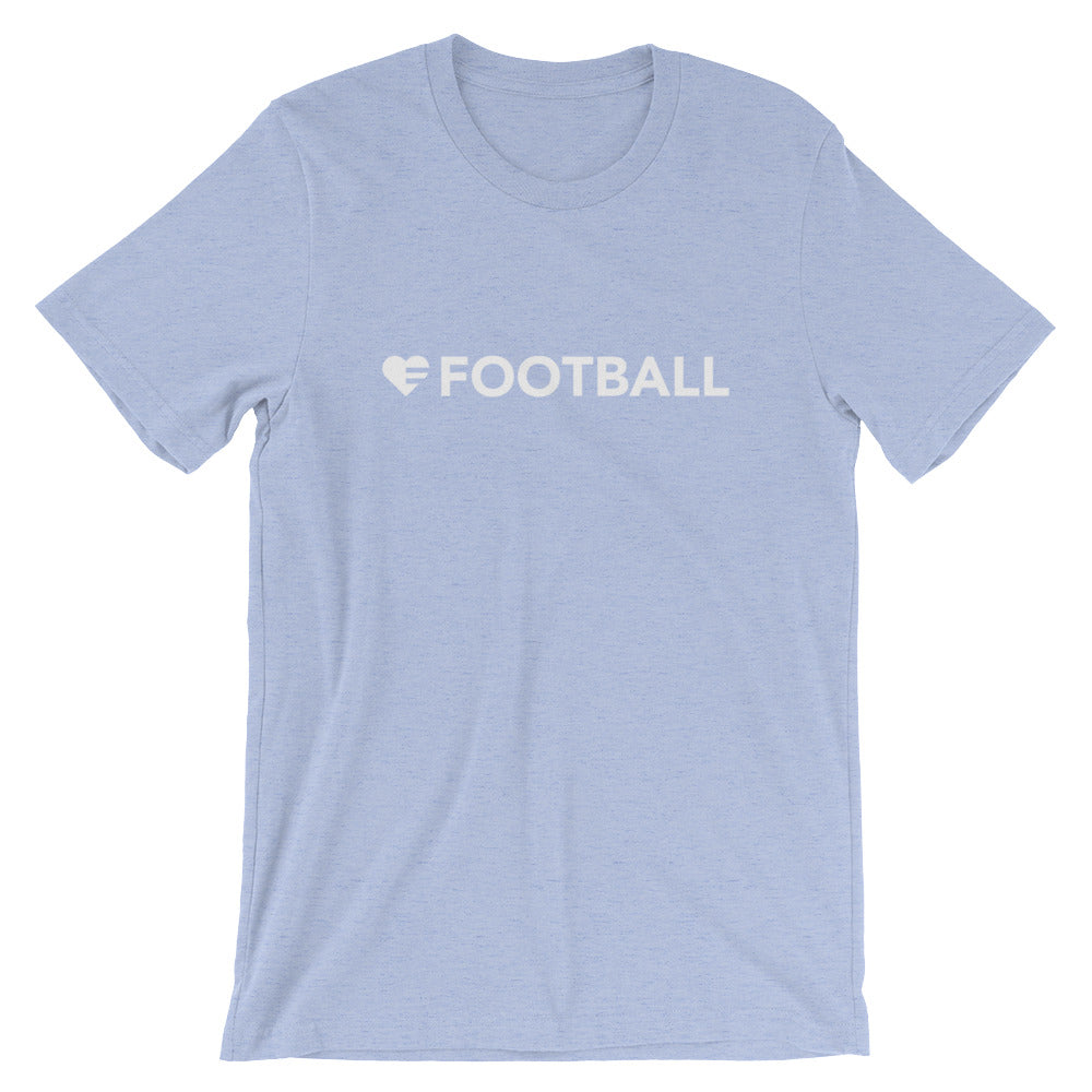 Heather Blue Heart=Football Unisex Tee