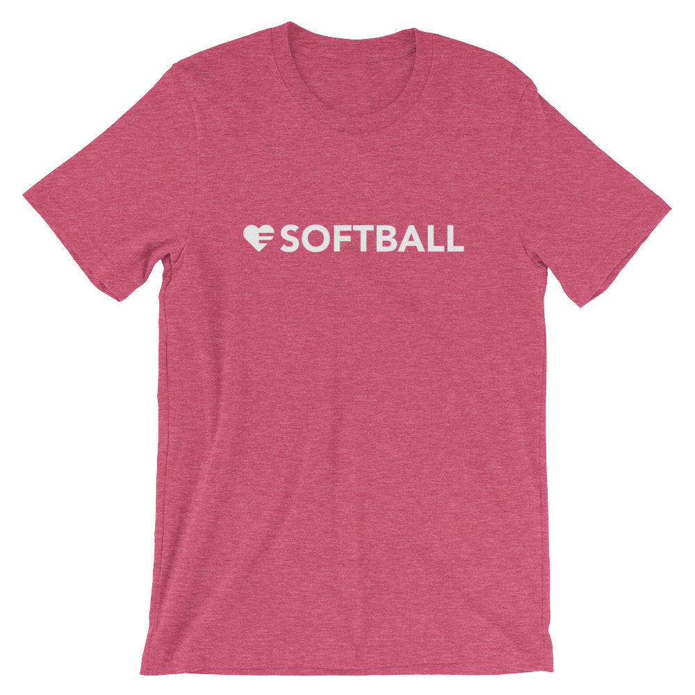 Raspberry Heart=Softball Unisex Tee