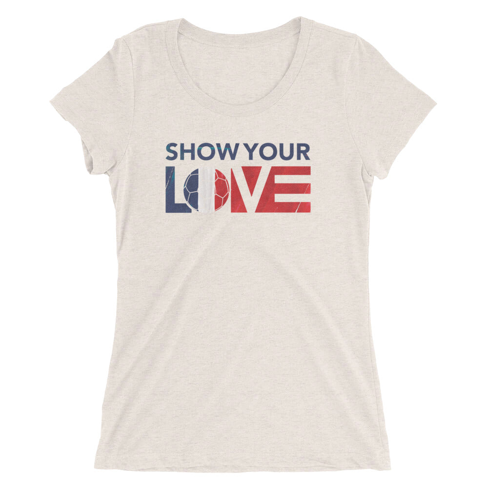 Oatmeal Triblend Show Your Love France Ultra Slim Fit Tee