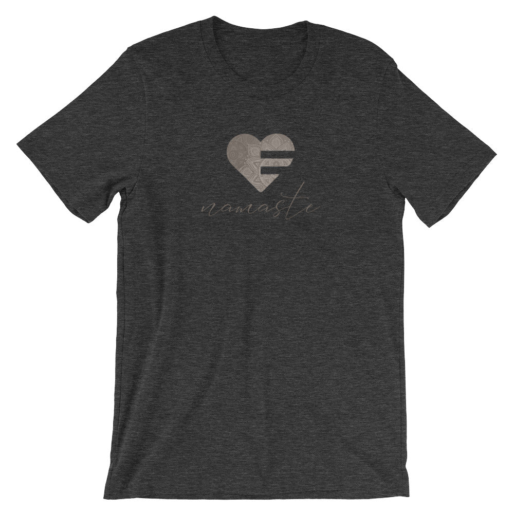 Dark Grey Heather Heart Namaste Unisex Tee