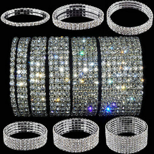 5 Styles Woman Bracelet Crystal Rhinestone Stretch Bracelet (Bangle) Multicolor Diamante Rhinestone Stretch Bracelet