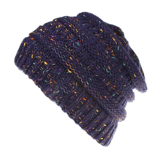 Colorful wool knitted hole beanie for ponytail or braid for skiing keeps you warm