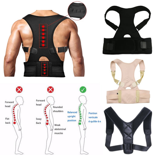 Back support belt and shoulder posture with magnetic therapy for unisex