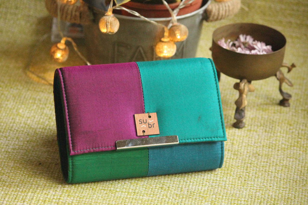 Indian Peacocks Colour Block Clutch