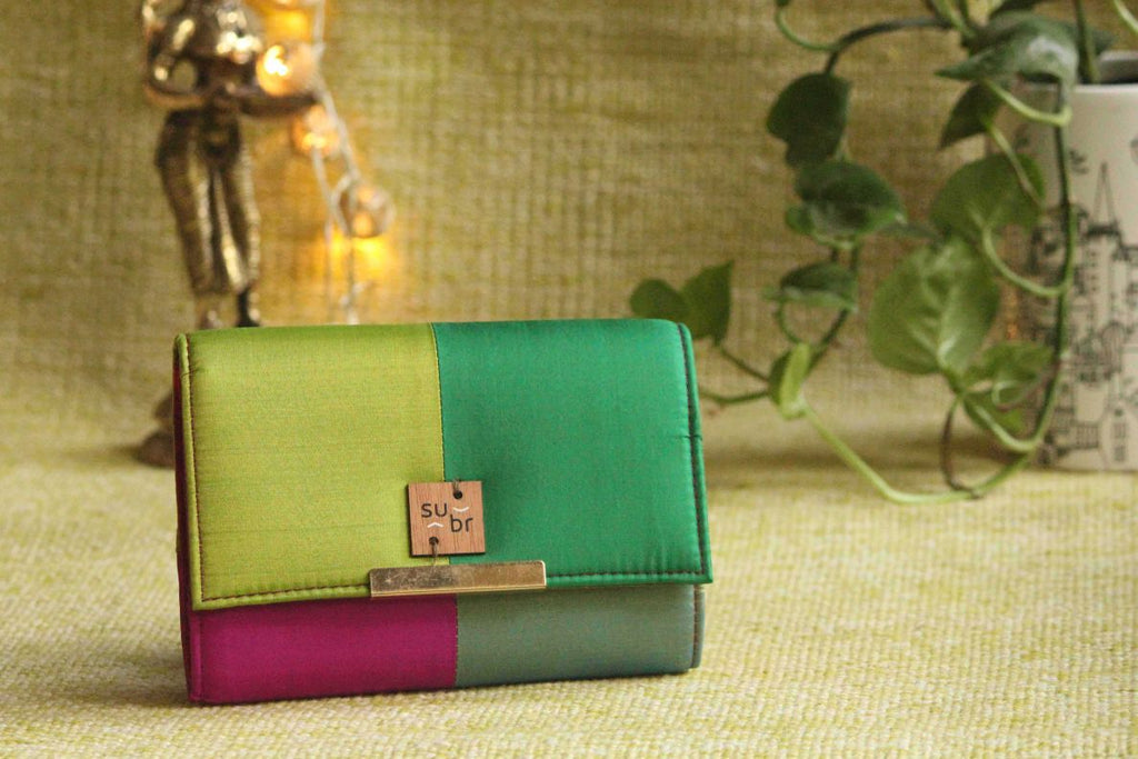 Retro Green  Colour Block Clutch