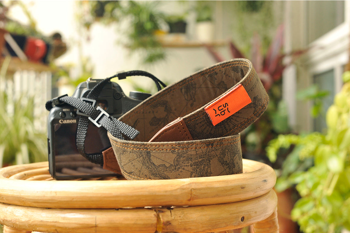Dark Brown Map Camera Strap