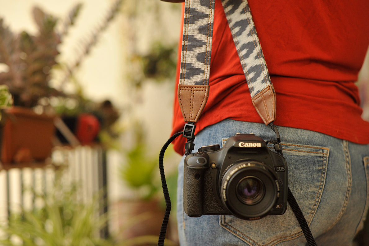 Blue Grey Ikat Camera Strap
