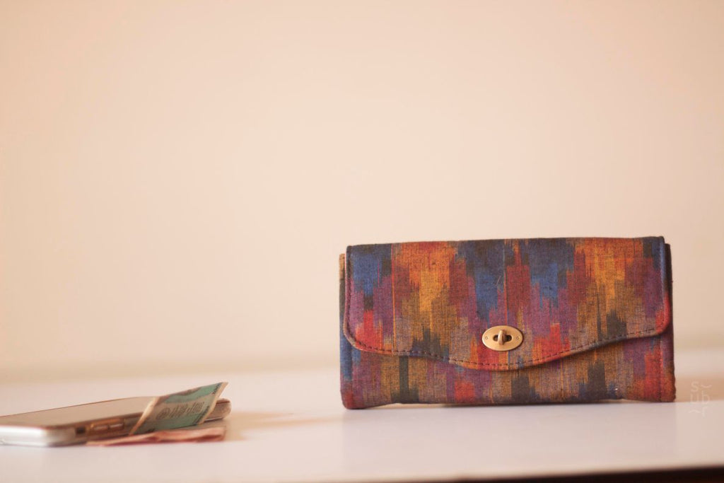 Deep Brown Ikat Excel Wallet