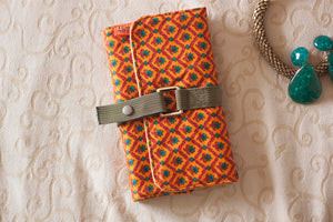Orange Green Floral Jewelry Roll