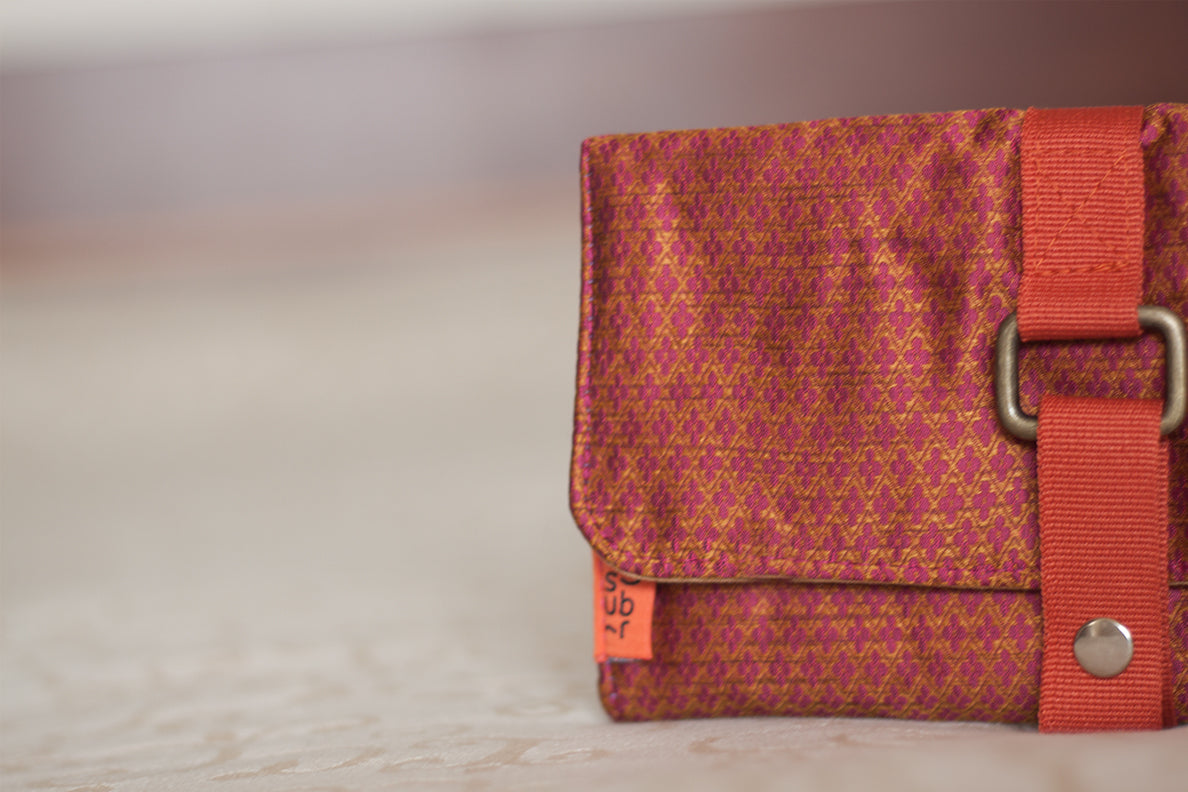 Burnt orange Brocade Jewelry Roll