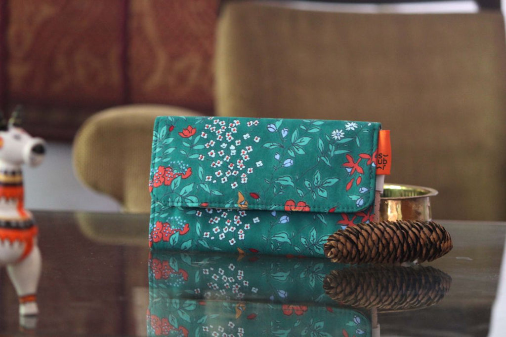 Deep Green Floral Phone Wallet