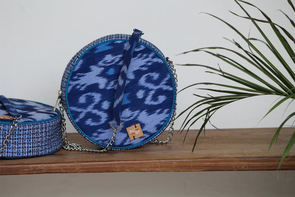 Blue Ikat with Gamcha Ring Road Bindu Bag