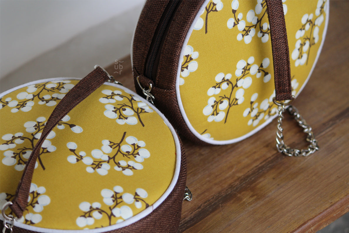 Cherry Blossoms on Mustard Ring Road Bindu Bag