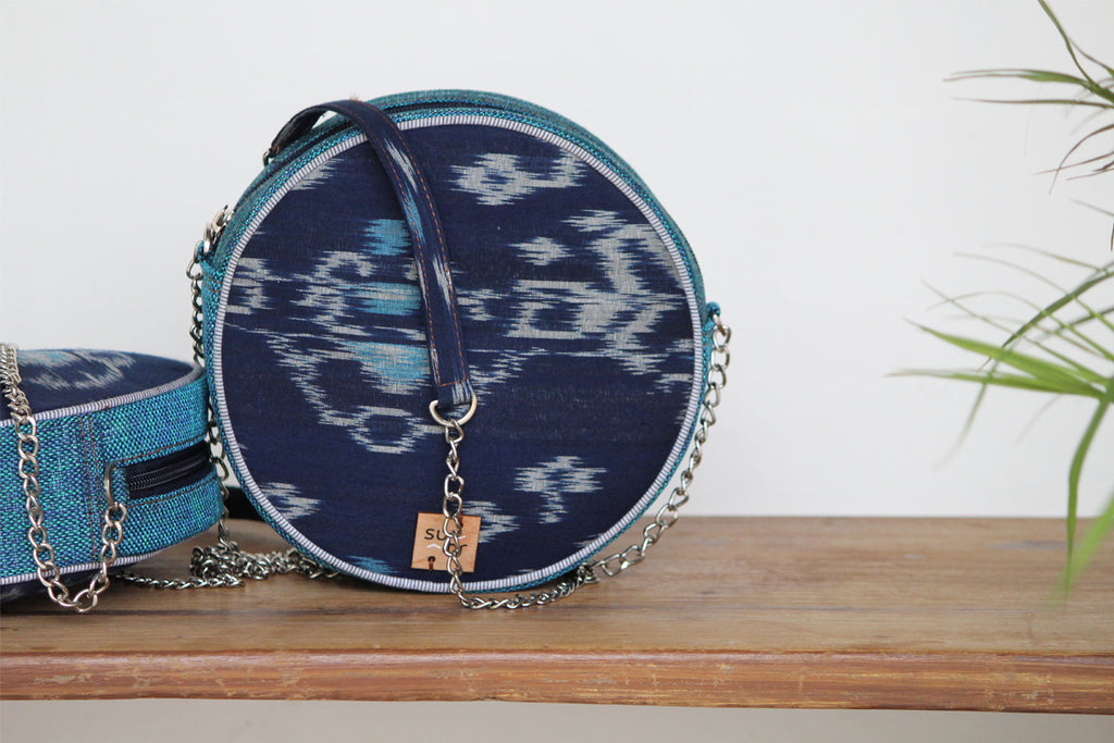 Midnight Blue Ikat Ring Road Bindu Bag