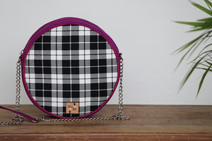 Black and White Checkered Ring Road Bindu Bag
