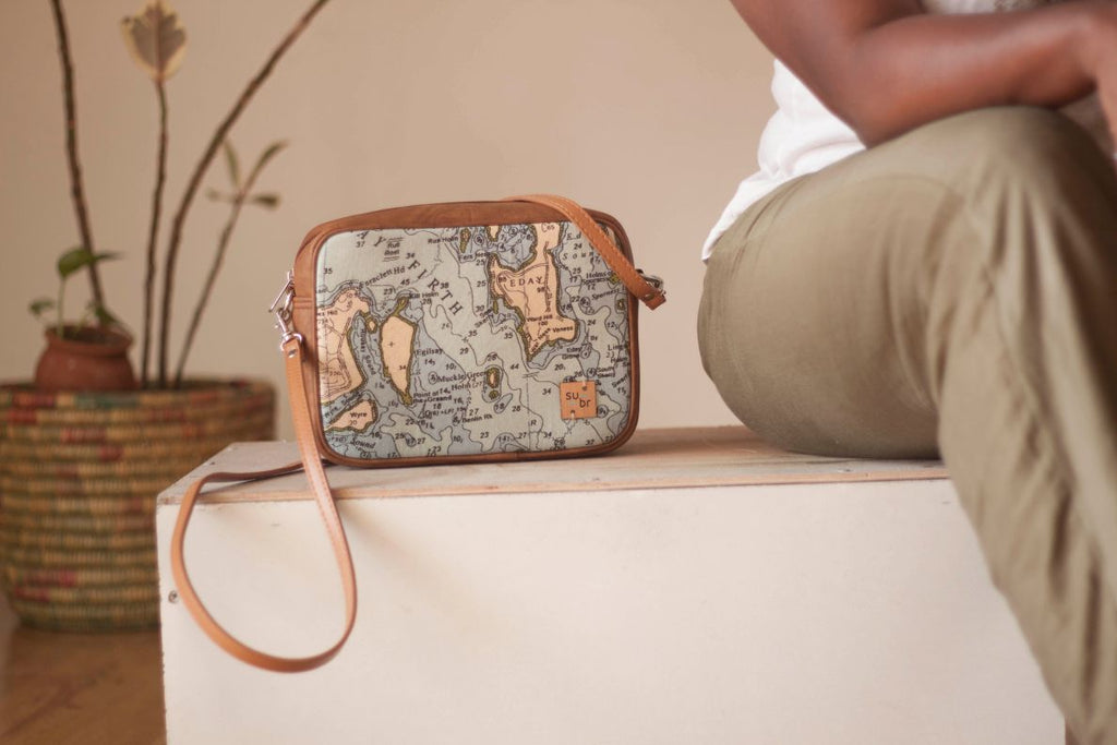 Vintage Map Bristow Bag with Faux leather Accent