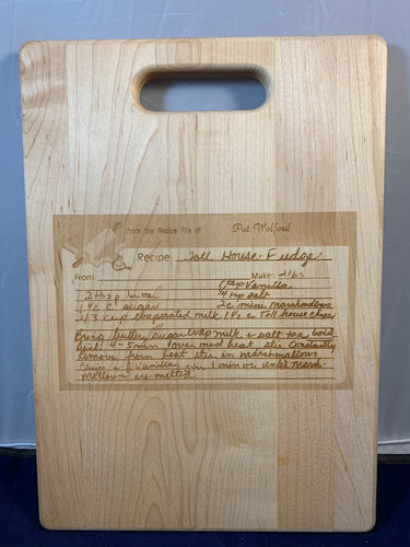 Custom Engraved Recipe cutting boards and restoration services.