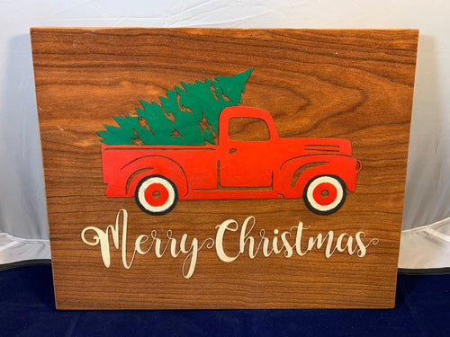 Hand painted engraved Merry Christmas Red Truck picture