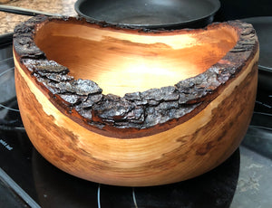 Live edge Cherry wood turned bowl.