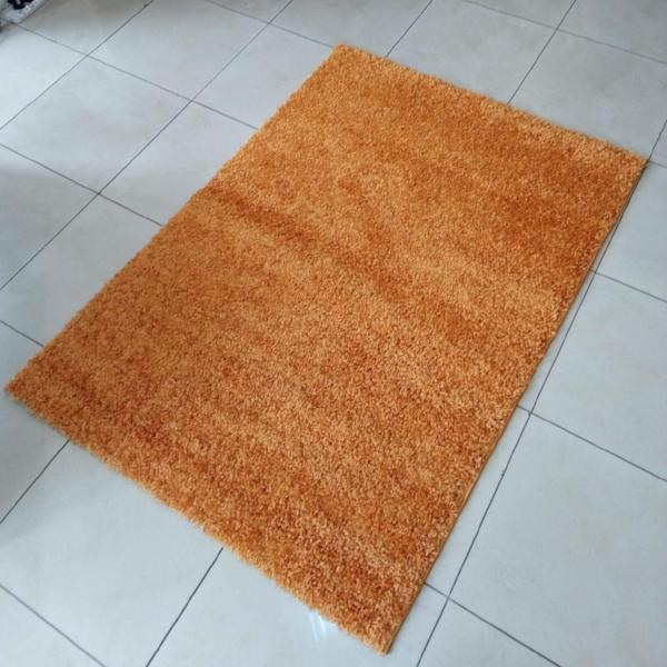 Orange plain Shaggy Carpet