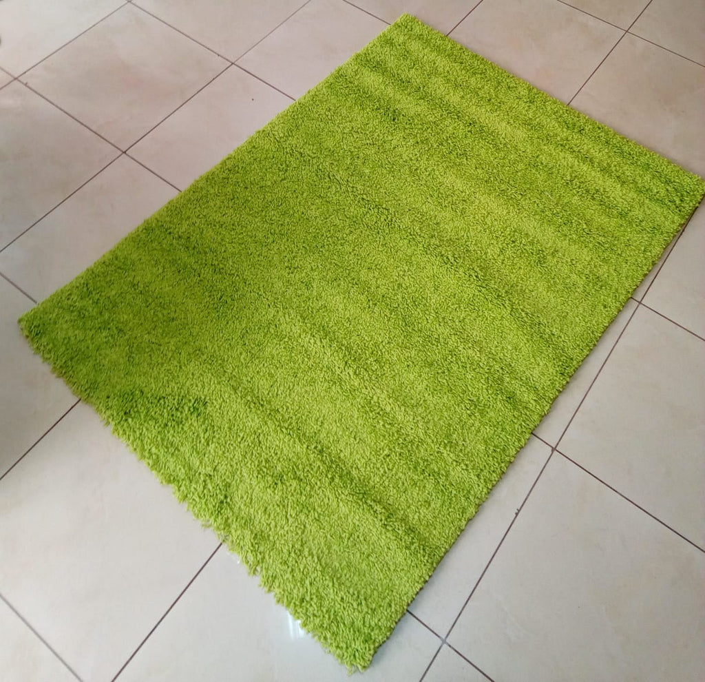 Green Plain Shaggy Carpet