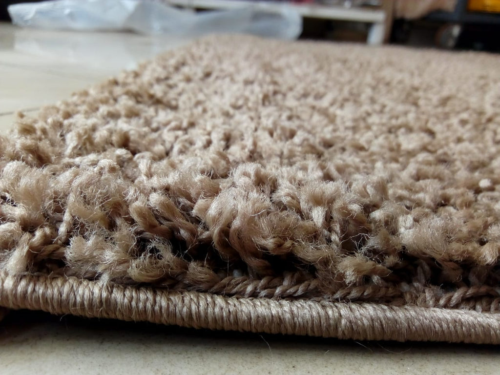 Beige Plain Shaggy Carpet