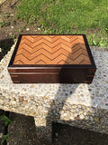 Unique artisan box made from oak, ash, and walnut. Wood tea box. Fireplace mantel decor. box for storage.