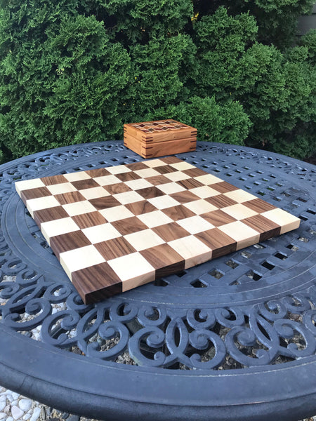 Regulation Size 18 Inch Chess Board Made Of Maple And Walnut - Great Gift For Birthdays And Holidays.