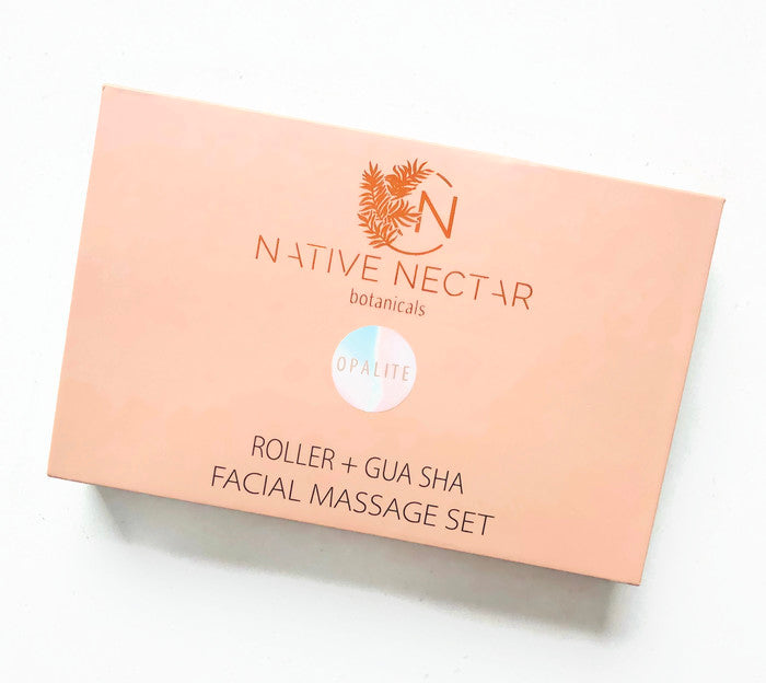 Opalite Roller + Gua Sha Facial Massage Set - Native Nectar Botanicals